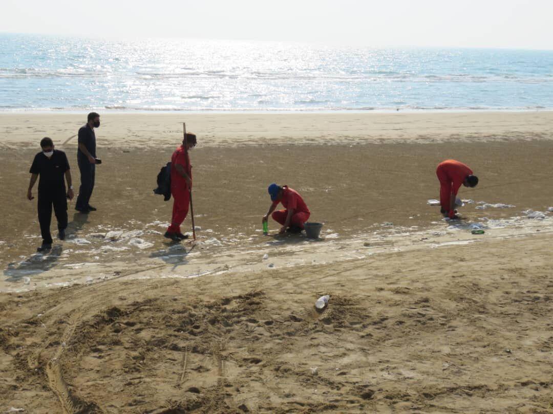 خبرنگاران عملیات پاکسازی سواحل گناوه شروع شد